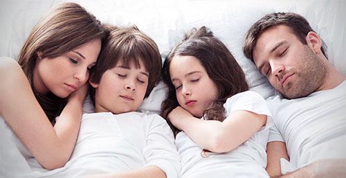 a family sleeping